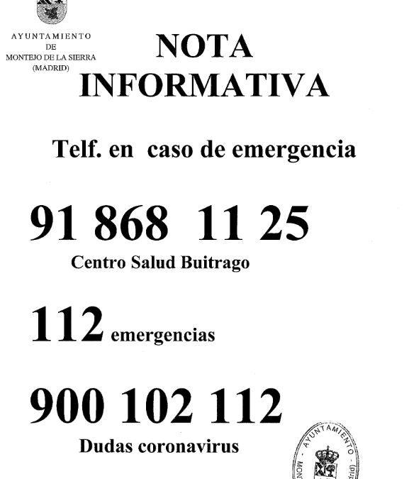 Teléfonos en caso de emergencias