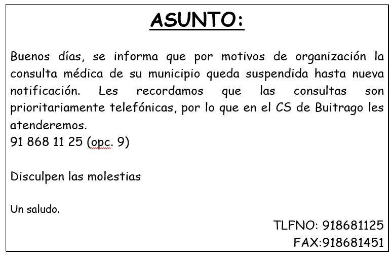 Consulta médica del municipio suspendida