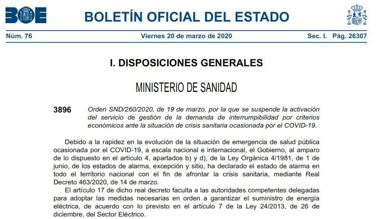 Información del BOE: Ministerio sanidad