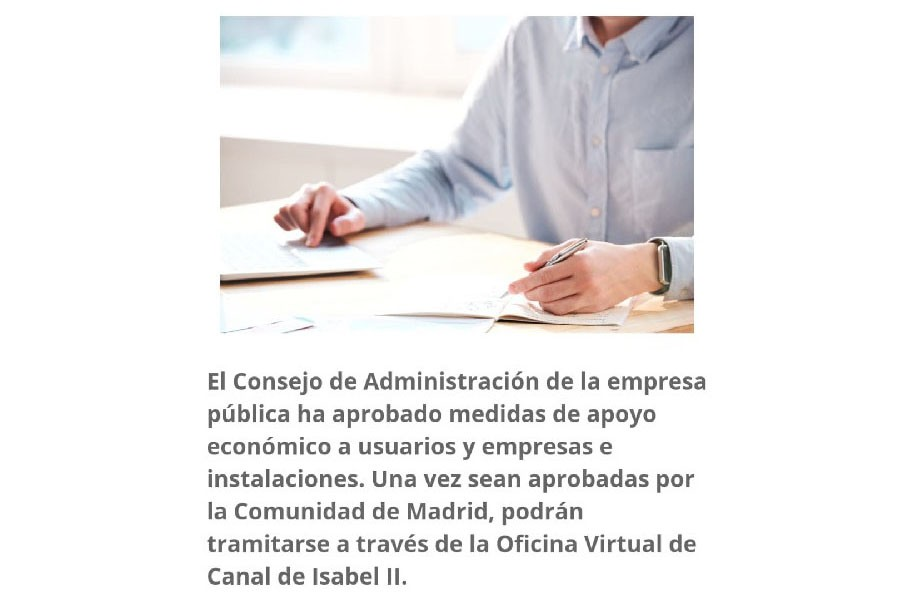Canal de Isabel II aplicará bonificaciones en la factura a empresas y particulares afectados por el Covid-19
